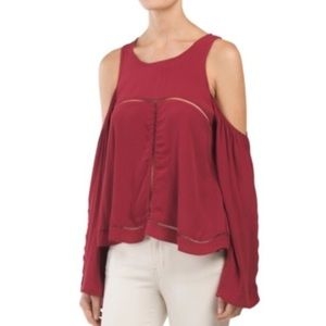 Lovers + Friends NWT Merlot Cold Shoulder Top